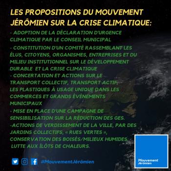 CRISE CLIMATIQUE : LE MOUVEMENT JÉRÔMIEN ÉMET SES PROPOSITIONS POUR SAINT-JÉRÔME